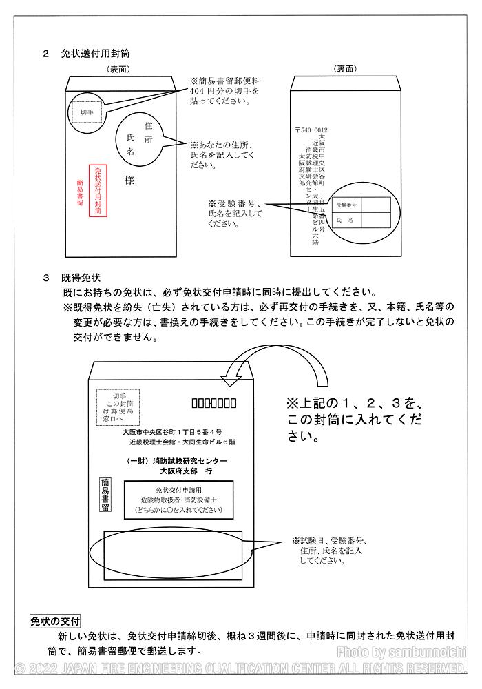 裏|免許申請のお知らせ(大阪)|危険物取扱者